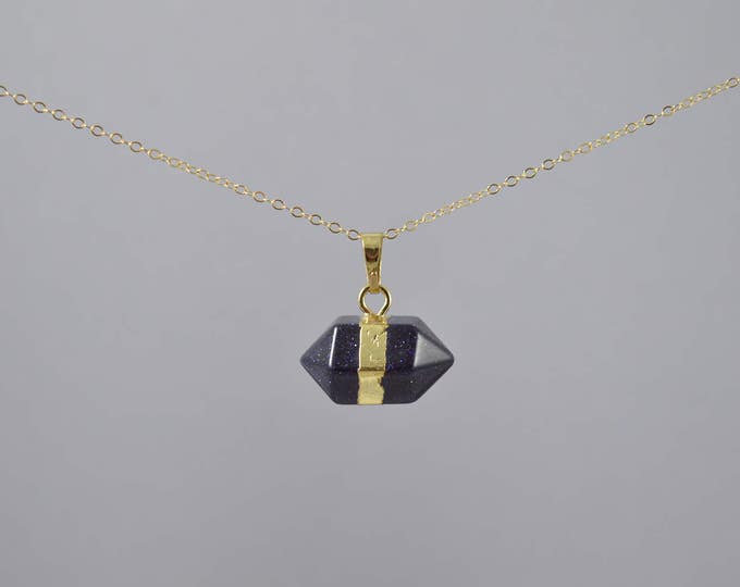 Blue Goldstone Crystal Gemstone Necklace