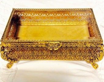 "Huge Filigree Ormolu Jewelry Box Gold Casket Beveled Glass Box Footed Very Large 8.5"" Long"