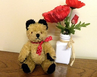 "Vintage Sooty Bear - 9"" Cotton Plush Teddy - 1950's Sooty"