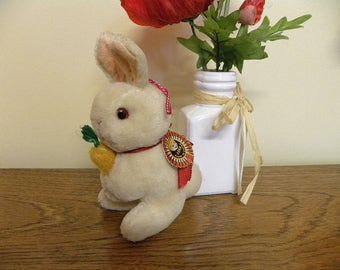 Miniature Vintage Rabbit - Chinese Pure Wool Bunny Toy - Hanging Pram Toy - 1960's Toy Rabbit