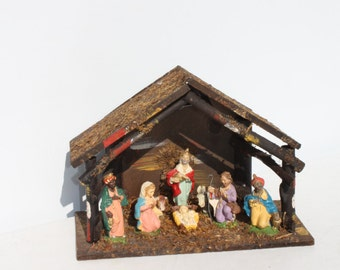 Vintage Christmas Nativity Creche Manger Set Lighted   Italy Italian  Figurines Wood Stable Religious Christmas Holiday