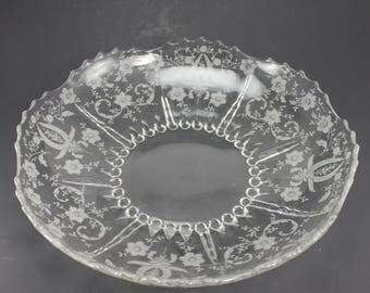 Vintage New Martinsville/Viking Glass Etched Glass Serving Bowl Floral Pattern Scalloped Edge Large Centerpiece Wedding Shower Gift Decor
