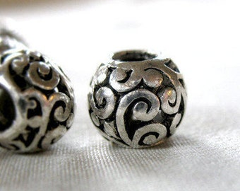 6 Silver scroll pattern with Black Antiquing large hole beads, 11mm wide x 9mm, hole diameter 5mm, package of 6