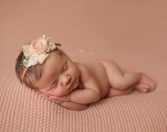 Newborn Headband, Newborn Tieback, Blush Nude Cream Dusty Rose, Newborn Photo Prop, Baby Girl Headband, Newborn Halo, Floral Crown, Bow
