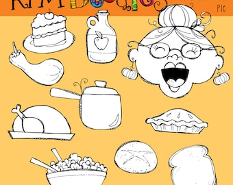 KPM Old Lady who swallowed a Pie Clip art blackline stamps