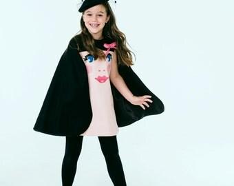 Girl's Suzy Cape Dress// Girls Winter Dress //Girls Face Dress// Girl's Holiday Dress // Handmade Girls' Clothing