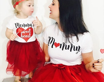 Mommy & Me Shirt Set (Mommy and Mommy's Sweetheart) Perfect for Valentines Day