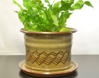 Earthenware Planter with Drainage | Ceramic Orchid Planter | Stoneware Flowerpot  | Specialty Jardiniere
