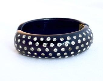 Vintage Black Rhinestone Bakelite Bracelet, Blue Moon Clamper Bakelite Hinged Bracelet