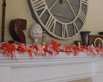 Fabric Garland Red Orange Pink Mantel Garland Swag