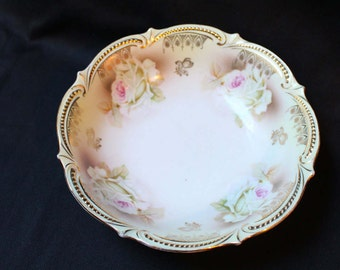 1914 Antique PK Silesia bowl with pink roses
