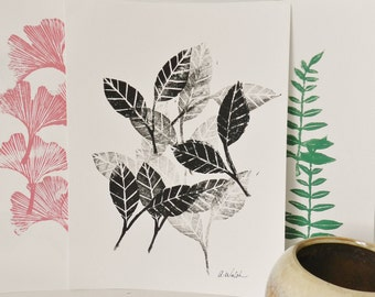 Botanical Art Print. 9X12. Original Artwork. Hand carved Hand printed Block Print. Boho Style Art.