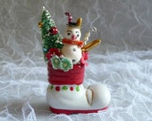 Vintage Christmas Decoration Spun Cotton Snowman in Santa Boot Retro Bottle Brush Tree Mercury Glass Icicles Millinery Flowers