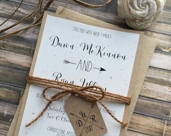 Rustic Wedding Invitation, Boho Wedding Invitation, Country Wedding Invitations, Shabby Chic Wedding Invitations, Barn Wedding Invitation