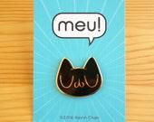 Meu Black Cat Enamel Pin