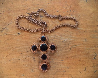 Antique Brass Cross Necklace Victorian Mourning Jewelry Book Chain Gilt