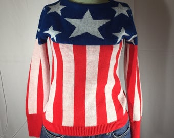 Red White Blue Sweater, Patriotic, Stars and Stripes, Pandora, Vintage, Size Small