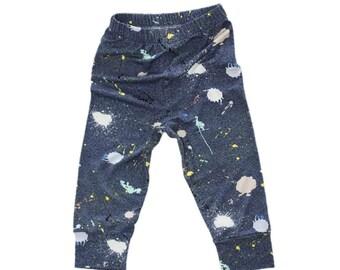 Paint Splatter Leggings, Ink Splat Baby Leggings, Blue Leggings, Gender Neutral Clothing