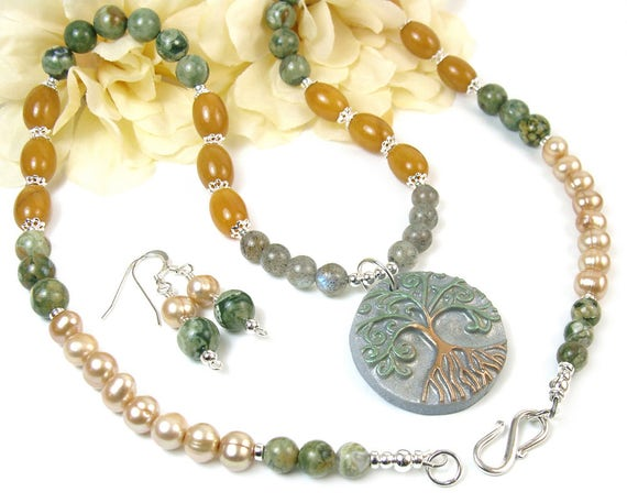 Tree of Life Necklace, Jasper Gemstone Beaded Necklace, Unique Jewelry Set Matching Earrings, Boho Woodland Jewelry, Yggdrasil Tree Necklace