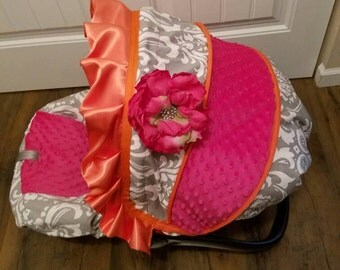 Damask with orange ruffle and trim with flower bling-  Infant car seat cover- Custom Order comes with FREE Strap Covers