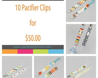 Pacifier Clip BUNDLE-HUGE Discount! Boys Pacifier Leash- WHOLESALE price- Pacifier clip sets dicounted- Boys Pacifier Leash Wholesale