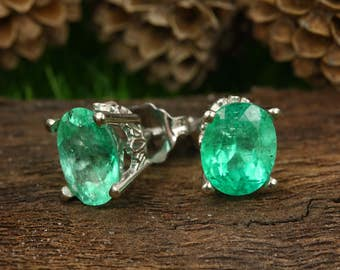 14K White Gold Emerald Oval Stud Earrings, Oval Emerald Earrings, Emerald Earring Studs, Colombian Emerald Oval Earrings, Emerald Scroll Ear