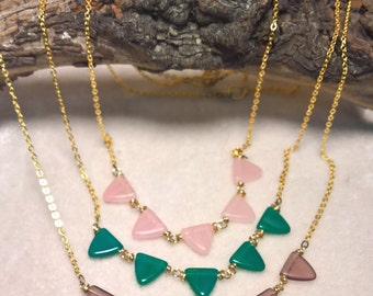 The Point Czech Glass Modern Art Necklaces for fun and Fashion on Brass chain Purple Triangles Green Triangles or Pink Triangle Necklace