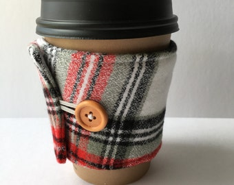 Coffee Cozy- Red, Green, White and Black Plaid Cotton Flannel Coffee Cup Sleeve- Reusable Coffee Sleeve