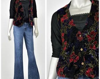 SALE! Floral Velvet Vest • Black Velvet Vest • Grunge 90s Vest • Womens Print Vest • Button Up Vest • Vintage 1990s Vest • Black Floral Vest