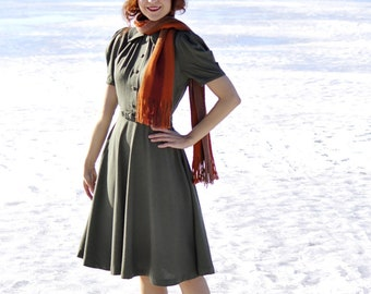 30s style green or wine red swing dress with buttons and puffed sleeves, made to order sizes US 0 to 16 / vintage reproduction / wool dress
