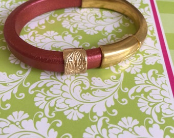 Gold Half Cuff and Leather Bracelet