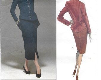 Vogue 2584 Paris Original Karl Lagerfeld 90s Women's Jacket & Skirt Sewing Pattern with Vogue Label Size 8, 10, 12 Bust 31 1/2, 32, 34