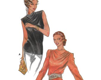 Butterick 6910 Womens 70s Draped Cowl Neck Blouse Sewing Pattern Bust 34
