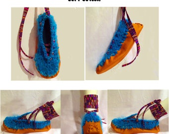 Moccasins, Mohair Wool, Lace Up Moccasins, Leather Moccasins, Womens Moccasins, Boho, Ballet Slippers, Fairy Shoes, Pixie, Festival, Hippie