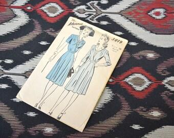 1940s Advance Dress Pattern, #3019, Size 20 (38 Bust, 41 Hip, 32 Waist)