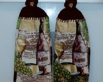 Burgundy Wine themed Crocheted Kitchen Fingertip Towel filigree heart button closure vintage lace vino wine