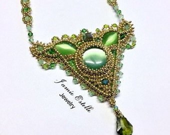 Leafy Green Cats Eye and Swarovski Crystal Beaded Necklace, Seed Bead Necklace, Bead Work Necklace, Bead Embroidered Necklace
