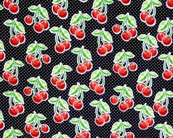 Red Cherries on Black polka dots fabric 100% cotton for Quilting crafting and all sewing projects.