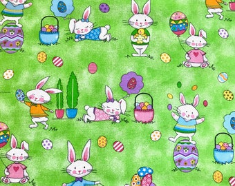 Easter fabric, Happy Bunnies  playing, Easter eggs fabric, 100% cotton fabric for Quilting and general sewing projects.