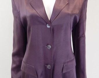 Original Vintage 1980s Grey/Purple Satin Blazer UK Size 14