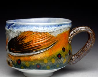 New Large Brook Trout Cup Mug with Wood Handle Gyotaku ( Unique and One of a Kind) Nature as Objects