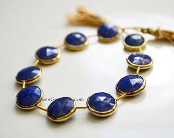 Lapis Lazuli Round Rimmed Beads, Blue Lapis Beads, Gold Bezeled Lapis Lazuli, Lapis Coin Shape, Gold Vermeil Bezeled Beads 14x14mm