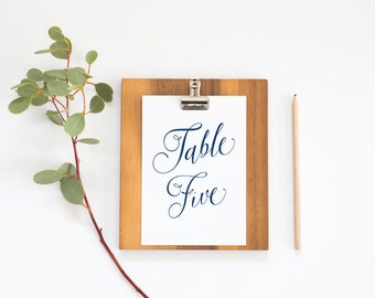 Table Numbers Templates in Navy Blue Script- (4x6) modern design DIY. Party, Wedding reception instant download (1-10)