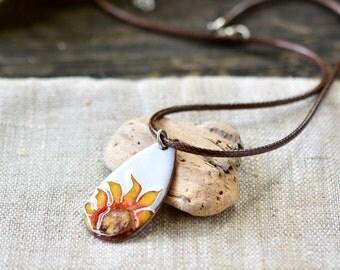 Cloisonne enamel necklace - Sunflower enamel pendant - Flower necklace OOAK - Artisan jewelry by Alery