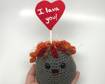 Crochet Volcano Plush / Handmade Volcano Toy / Crochet Valentine's Day Plush / I Lava You Plush / Valentine Pun / Funny Plush Ready to Ship