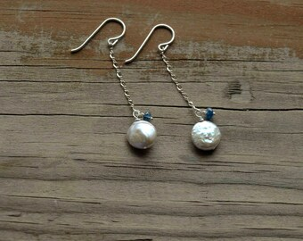 Coin Pearl Earrings, Sterling, genuine blue sapphire, natural freshwater white coin pearls, long chain earrings, real pearl sapphire jewelry