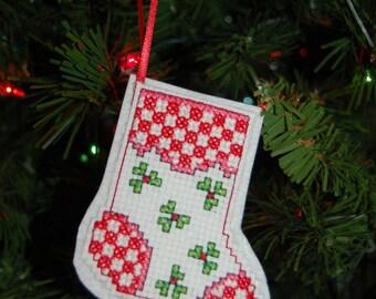 Checkered Stocking Cross Stitch Christmas Ornament