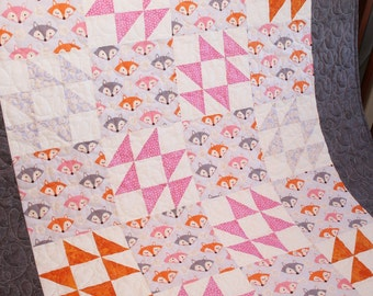 """Baby Quilt entitled """"Fancy Foxes"""""""