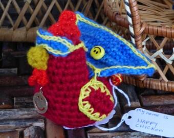 Crochet Chicken-HAPPY CHICKEN-Red Chicken Amigurumi with cape and mask-Chicken Stuffed Animal - Chicken Decor-Crochet Art-Chicken pincushion