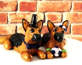 German Shepherd Wedding Cake Toppers Bride and Groom Dog Wedding Decor Cake Decoration Pet Wedding Ideas German Shepherd Topper